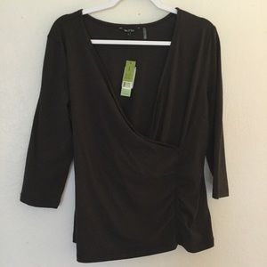 Nic + Zoe Faux Wrap Side Ruched Blouse NWT Large